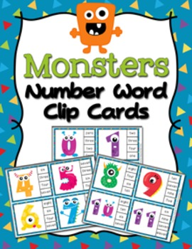 Monsters Number Match Clip Cards