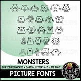 Monsters Picture Font {Educlips Clipart}