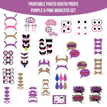 Monsters Pink Purple Printable Photo Booth Prop Set