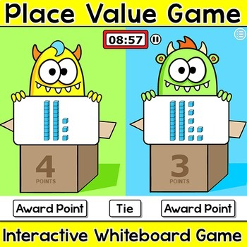 Place Value Team Challenge Smartboard Game - Monsters Theme