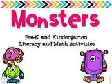 Monsters Pre-K and Kindergarten Literacy and Math Activities