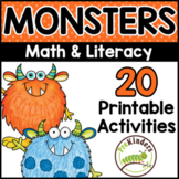 Monsters Printable Math & Literacy Activities for Pre-K, Preschool, Kindergarten