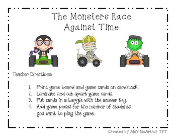 Monsters Race Against Time ~ Telling Time Game