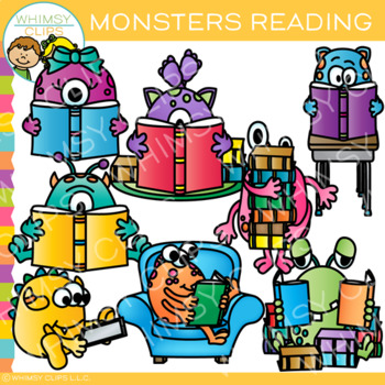 Monsters Reading Clip Art