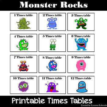 Monsters Rock Times Tables