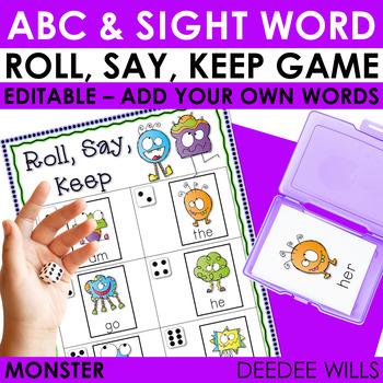 Monsters!!!! Game Pack Roll, Say, Keep-Editable