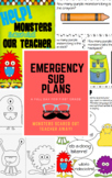 Sub plans: Monsters Scared Our Teacher Away! Emergency Sub
