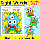 Monsters Color by Sight Words Differentiated Literacy Centers Activity