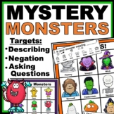 Speech Therapy Halloween Activities: Monster Describing and Asking Questions
