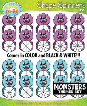 Monsters Spinner Shapes Clipart {Zip-A-Dee-Doo-Dah Designs}