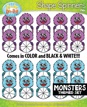 Monsters Spinner Shapes Clipart {Zip-A-Dee-Doo-Dah Designs}