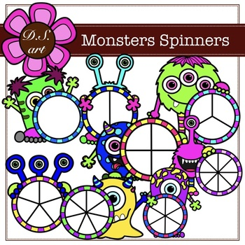 Monsters Spinners Digital Clipart (color and black&white)