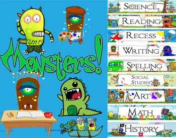 Monsters! Subject labels for the classroom!!