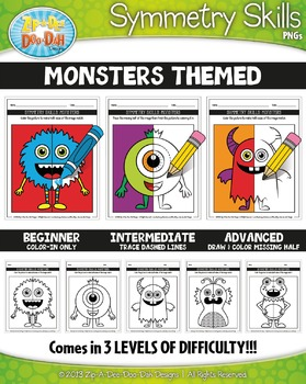 Monsters Symmetry Skill Activity Pack — Includes 15 Sheets!