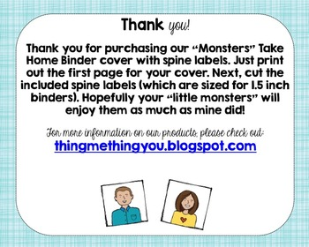 "Monsters Take Home Binder with 1.5"" Spine Labels"