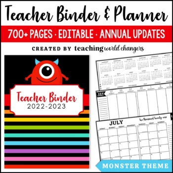 Monster Teacher Binder