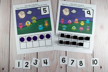 Monsters Ten Frame Game  (Pre-K + K Math) Halloween