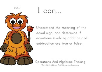 Monsters Theme 1st grade math Common Core Posters first Grade Standards