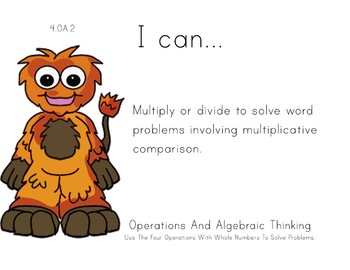 Monsters Theme 4th grade math Common Core Posters fourth Grade Standards