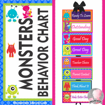 Monsters Theme Behavior Clip Chart - EDITABLE