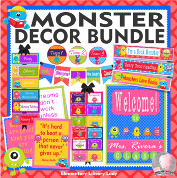Classroom Theme Decor Bundle MONSTERS Posters, Job & Rules Cards, Bookmarks More