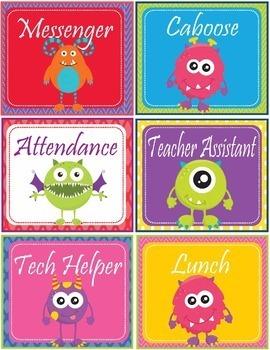 Monsters Theme Classroom Jobs - EDITABLE
