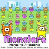 Monster Theme Interactive Attendance with Lunch Choices for All Whiteboards