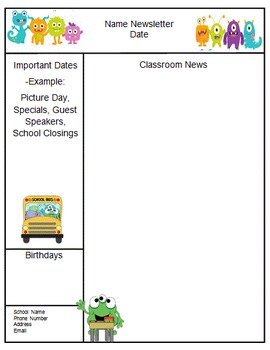 Monsters Theme Teacher Newsletter Template
