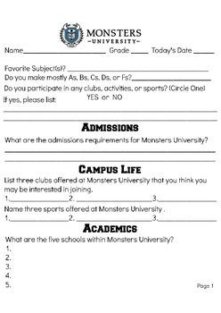 Monster's University Worksheet
