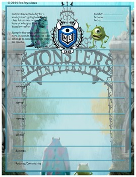 Monster's University mini journal template tener/ tener+que /time