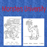 Monsters University:Color By Letter and Number