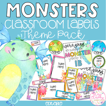 Monsters Watercolour Classroom Theme Pack - Editable Name Tags, Labels & Posters