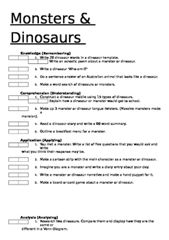 Monsters and Dinosaurs - Extension Program - Based on Blooms Tax - Editable