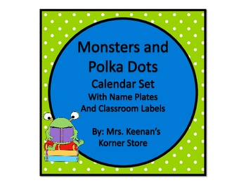 Monsters and Polka Dots Calendar Set with Name Plates and