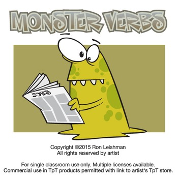 Monsters and Verbs Cartoon Clipart