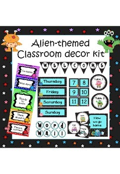 Monsters and aliens themed classroom decoration set (with