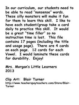 Monster's and their Silly Nonsense Words