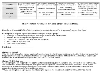 Monsters are Due on Maple Street Activities