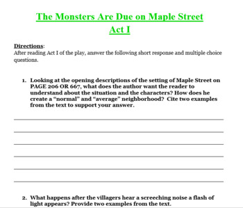 Monsters are Due on Maple Street - Vocabulary, Questions, Headlines