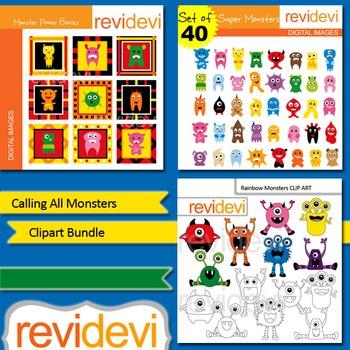 Monsters clip art: Calling All Monsters clipart bundle (3 packs)