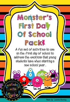Monsters – first day of school pack - free