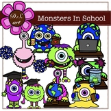 Monsters in School Digital Clipart (color and black&white)