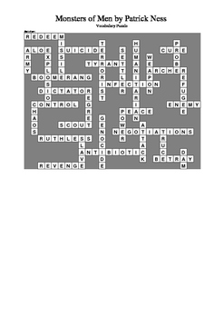 Monsters of Men by Patrick Ness - Vocabulary Crossword Puzzle