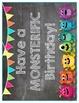 Monsters on Chalkboard Birthday Balloons