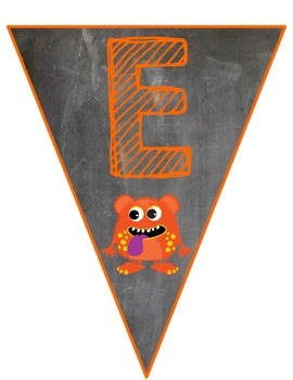 Monsters on Chalkboard Welcome Pennant Banner