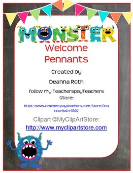 Monsters on Chalkboard Welcome Pennant Banner--Monster Letters