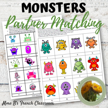 Monsters partner matching game: any language