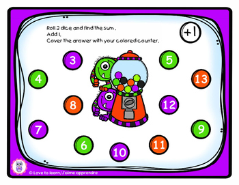 Monsters roll and cover : addition and subtraction