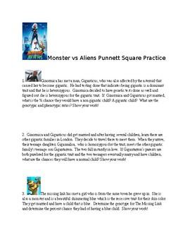 Monsters vs Aliens Punnett Square Practice Problems