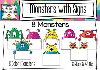 Monsters with Signs Clip Art